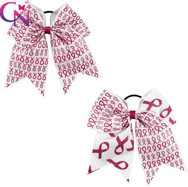 Elegant 7 inch girls hair bows Patchwork Cheer Bows Half Glitter Half Grosgrain Ribbon headband With Elastic Band