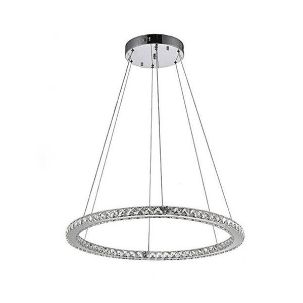 24W D50cm LED Lampadari in cristallo a soffitto Lustre in acciaio inox + Cristallo trasparente Cucina Sala da pranzo Anello lampada a sospensione