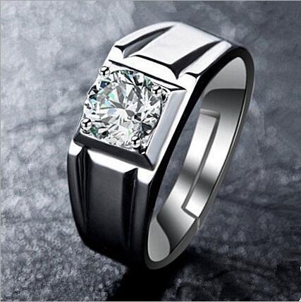 El hombre de la joyería abre el anillo de bodas de tamaño ajustable Anillo de diamantes de simulación Anillo de diamantes de jefe Cuatro amantes de la garra al por mayor