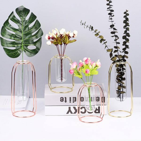 Florero de hierro forjado de oro rosa. Tubo de ensayo de vidrio. Insertador de flores. Soporte para flores.