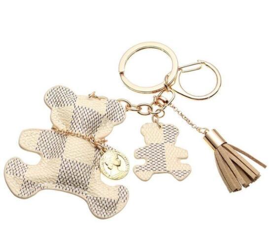 Neue mode! Schlüsselanhänger Zubehör Quaste Schlüsselanhänger PU Leder Bär Muster Auto Keychain Schmuck Tasche Charme