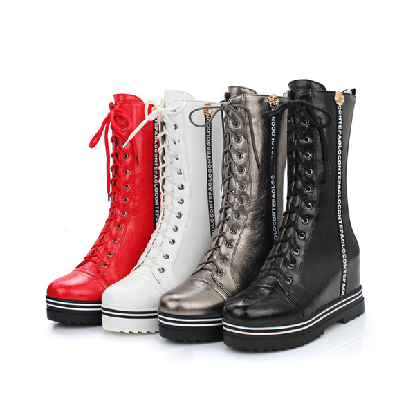 Fashion Winter Ankle Boots Women Heel Leather Increasing Flat Heels Casual Shoes Wedges Platform Women Autumn Boots