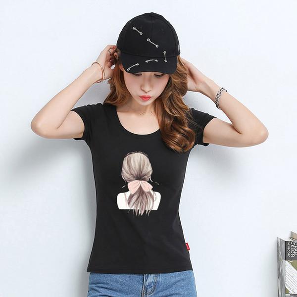 T Gömlek Kadınlar Yeni t-shirt kadın 2018 vogue Vintage tişörtleri pamuk O Boyun Kısa Kollu A1