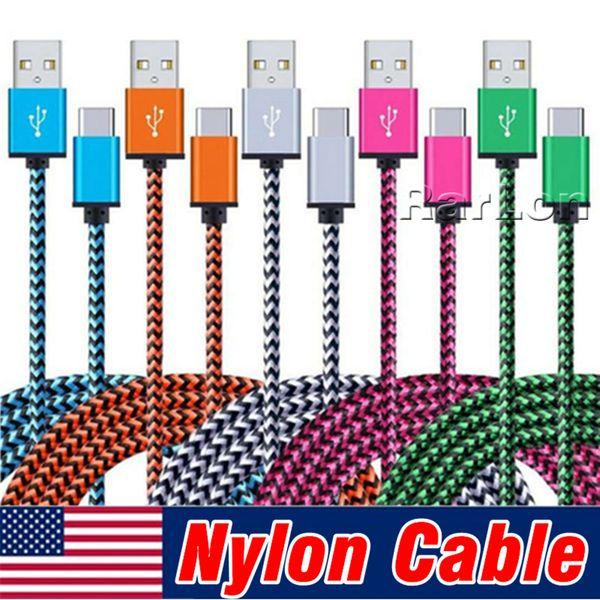 Cavo Micro USB 3Ft Nylon Cavo USB Braided USB 2.0 A maschio a Micro B Cavo di ricarica rapido per Samsung S8 Sony LG
