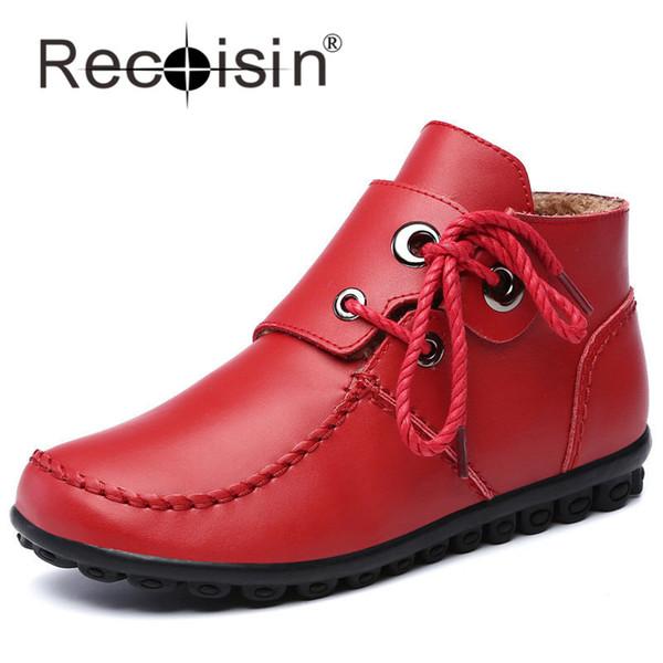 d37b6b9c RECOISIN Mocasines Mujer Cuero Genuino Planas Señoras Elegantes Zapatos  Mujer Invierno Zapatos Casuales Con Enredaderas de