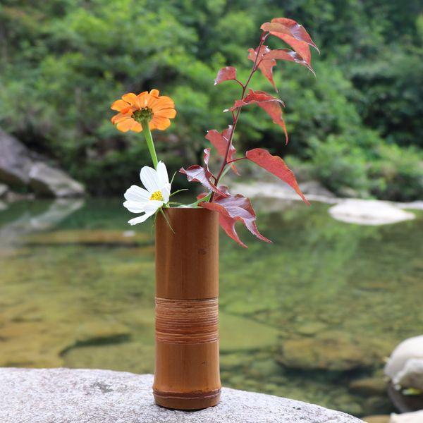 Ev Dekorasyon Için japon Bambu Çiçek Vazo El Yapımı Düğün Dekorasyon Vazo Hediye Çiçek saksıları standları Ev dekor şişeleri ahşap