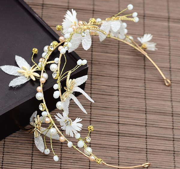 Bridal butterfly headwear, handmade pearl hair band wedding dress accessories, toast, headwear, performance accessories, new style