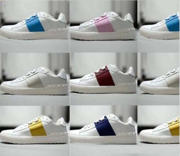 EN İYİ KALİTE! renkler hakiki deri unisex spor ayakkabı ayakkabı lüks tasarımcı v vogue pist siyah kırmızı sarı mavi