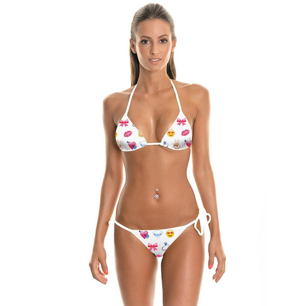 New Design Fashion Summer Smile Red Lip Emoji 3D Prints Sexy Girl Thongs Ropes Bikini Set Swimsuit Swimwear Women Bathing Suit