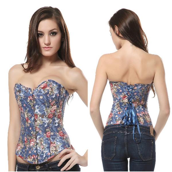 Women Corset Top Flower Pattern Summer Corselet Outerwear Shirt Fancy Party Dress Floral Overbust Lace Up