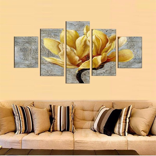 Wall Art 5 Pieces/Pcs Red Rose Flower Poster Frames Print HD Modular Printed Decoration Pictures Canvas Painting Living RoomModern Painting