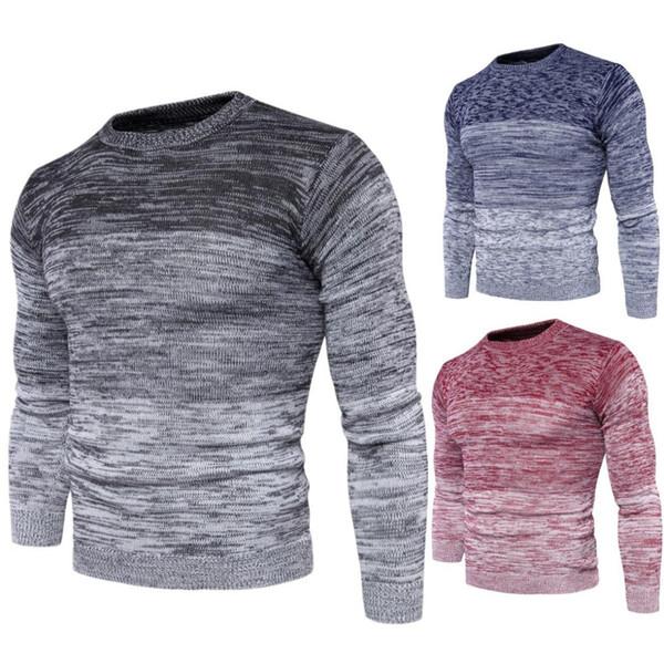 MIJKO Mens Fall Fashion Standard Lana Primavera y Otoño Pullover Hombres Gradient Sweater Cuello redondo Suéter casual Tallas grandes M-3XL