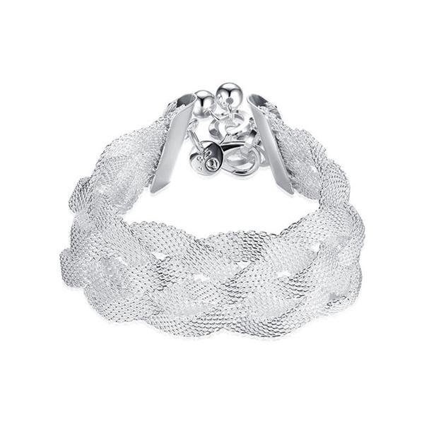 Reticulated knitted Bracelet sterling silver plated bracelet ; Hot sale fashion men and women 925 silver bracelet SPB253