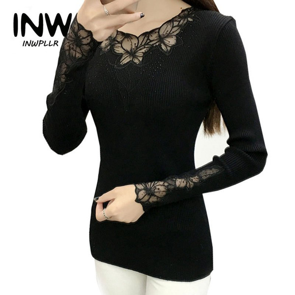 2019 Elastic Knitting Sweater Women's Pullover Autumn Lace Patchwork Sweaters And Pullovers O-Neck Diamonds Sueter Mujer