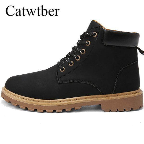 Catwtber Retro Leather Men Boots Classic Style Black Men Shoes Casual Leather Winter Working Ankle Martin Boots Footwear