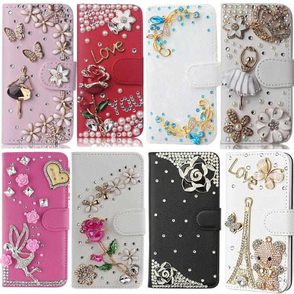 wholesale Cover For Samsung Galaxy J7 2018, Diamond Rhinestone PU Leather Flip Cover Wallet Case Bling