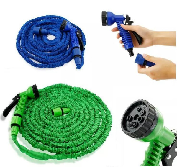 top popular 100FT Expandable Flexible Garden Magic Water Hose With Spray Nozzle Head Blue Green with retail box Free Shipping 50pcs 2019