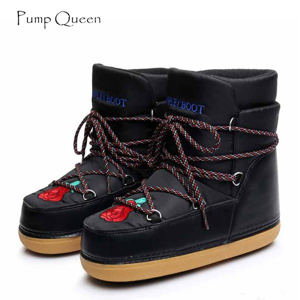 PumpQueen 2018 Russian Winter Snow Boots Women Ankle Boots printing Cotton Fabric Warm Plush Slip On Round Toe Female Shoes