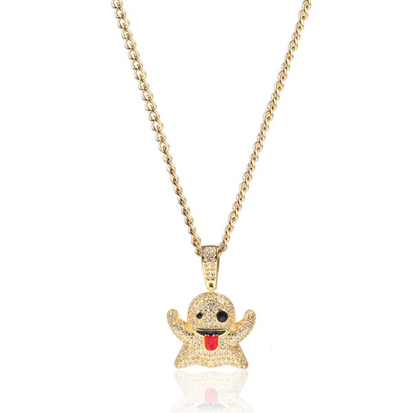 Emoji Ghost Pendant Necklace Iced Out Cubic Zircon Copper Gold Silver Color Men Women Gifts Hip Hop Jewelry