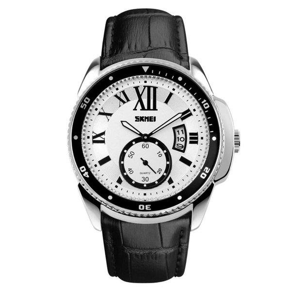 8facd2887c7 Top Marca de Luxo Numerais Romanos Moda Homens Pulseira De Couro Genuíno de  Quartzo Relógio de