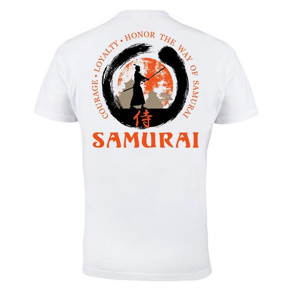 MMA Samurai Kung Fu Aikido Gym Martial Arts Mens White Cotton T-shirt Top Tee