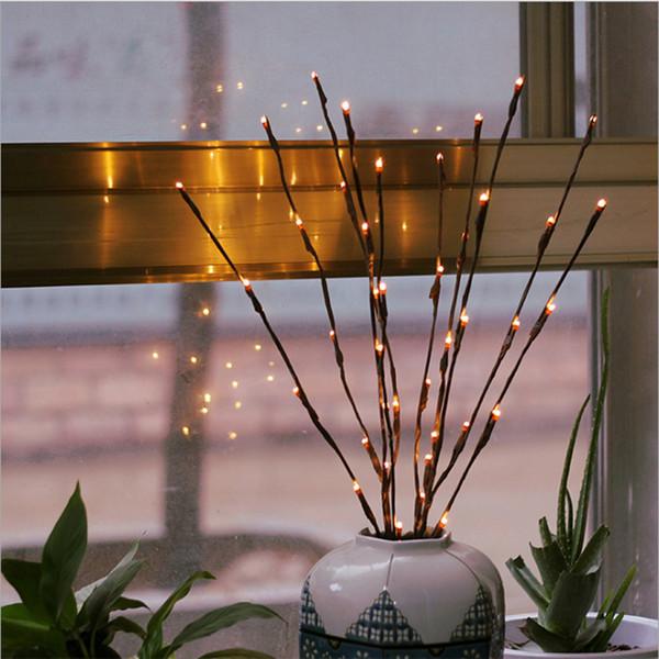 Sıcak Beyaz 20 LEDs Led Ağacı Işık Akülü Noel Peri Esnek Dize Düğün Dekorasyon Kapalı Masa Lambası Luminarias Gece Lambası
