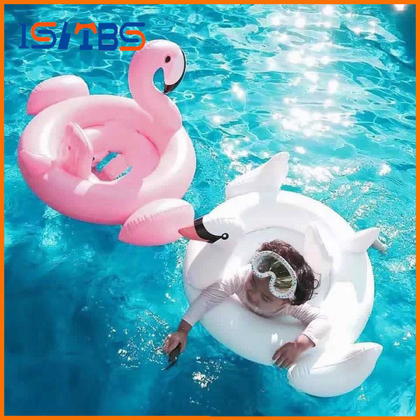 Baby Inflatable Flamingo Pool Float Pink Ride-On Swimming Ring White Swan Floating Water Holiday Party Toys For babies Piscina