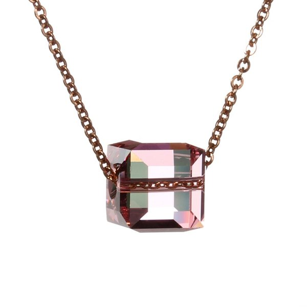 SAUVOO 1pc Women's Stainless Steel Chain Blue Pink Square Crystal Pendant Necklace Length 50cm, Pendant 20x10mm