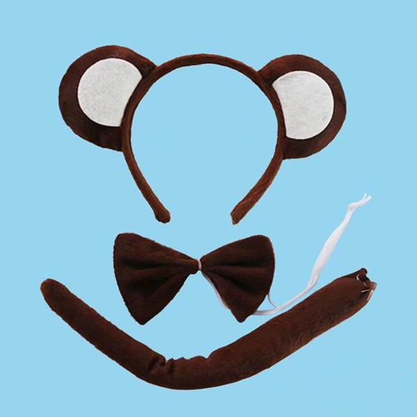 Brown Scimmia gialla fascia arco cravatta coda animale Cosplay 3pcs Set bambini Halloween puntelli di prestazioni favori di partito