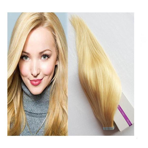 Cinta de color rubio en extensiones de cabello Balayage Trama de piel recta Indian Virgin Remy Cinta humana en extensiones de cabello