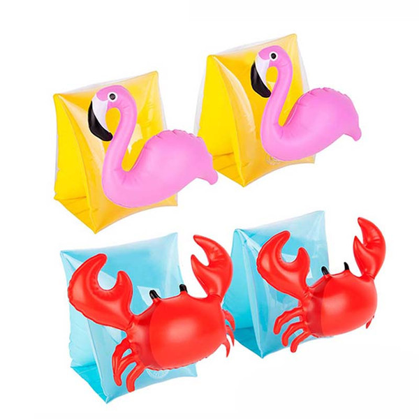 1Pair Children Crab Flamingo Swimming Arm Ring Inflatable Arm Bands Kids Floatation Sleeves Water Wings Swimming Floats