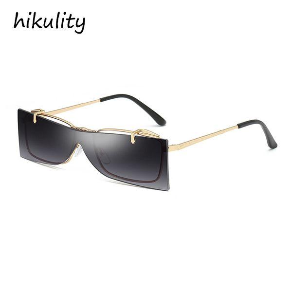 89252 FlipUp Rimless One-Piece Stylish Sunglasses Women 2018 Unique Designer Ladies Clear Glasses Vintage Sun Glasses for Men