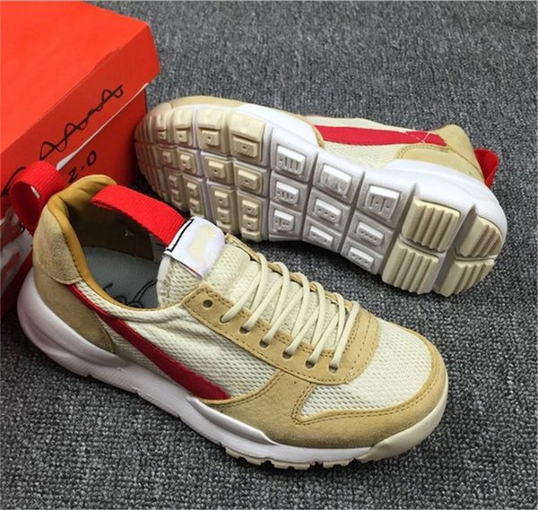 2018 Release Tom Sachs Craft Mars Yard 2.0 Space Camp Running Shoes Men Authentic AA2261-100 Natural Sport Red Maple Outdoor Shoes With Box