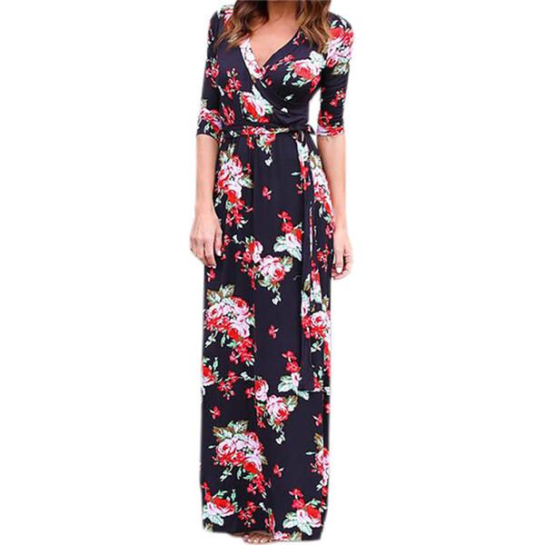 X mujeres verano estampado floral maxi vestido Boho Beach Dress túnica vendaje Bodycon partido de la tarde vestido largo Vestidos largos mujer XXL