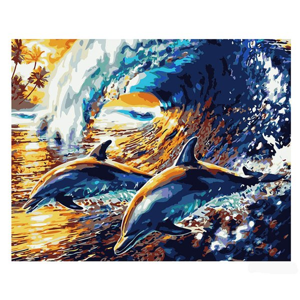 2019 Hot Sale Diy Oil Painting Number Oil Painting White Canvas Cloth Three Standard Pen Sea Waves Dolphin Seashore Colorful Attractive Picture From