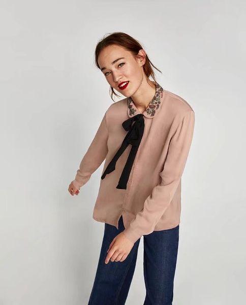 2018 spring women plain blouses knot Shirts embroidered bows loose silk shirts autumn Womens Camisa Blusas Feminina