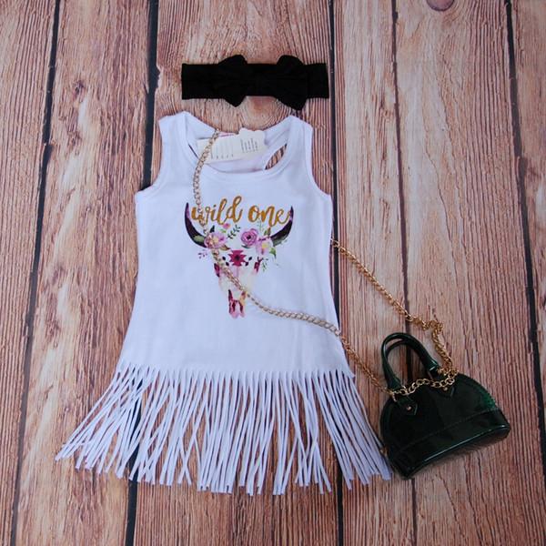 Boho Babe 황소 드레스 프린지 여자 드레스 반짝이 골드 와일드 한 Tassels 드레스 여자 아기 화이트 프린지 드레스 부티크 여자 옷