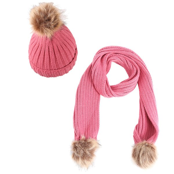 d6bf5b7167733 2018 Fashion Warm Winter Hat&Scarf Sets For Kids Girls 2 Pieces Set Knitted  Hat&Scarf Cotton Unisex