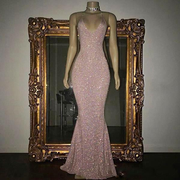 Shining Rose Pink Sequined Prom Dresses 2k19 Sexy Spaghetti Mermaid Evening Gowns Floor Length Cheap Cocktail Party Dress For Women