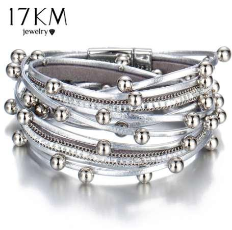 17KM 3 Color Fashion Multiple Layers Charm Bracelet For Women Vintage Leather Bracelets & Bangle Femme Party Jewelry Wholesale