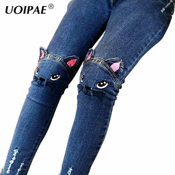 Girls Jeans 2018 Cartoon Cat Plus Size Baby Girls Pants Slim Skinny Kids Leggings Cotton Casual Children Clothes 2507B