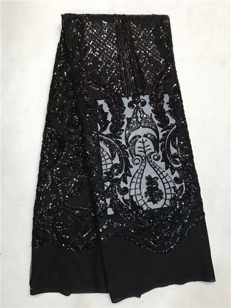 Lots of sequins plain Black french net lace fabric African tulle lace for Nigeria sewing garden clothes high quality jl-1-7