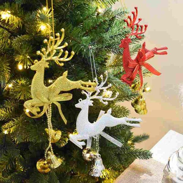 Fashion Deer Pendant Christmas Decorations Christmas Tree Pendant Christmas Party Wedding New Year Charm Festive Party Supplies Xmas Decorations Cheap