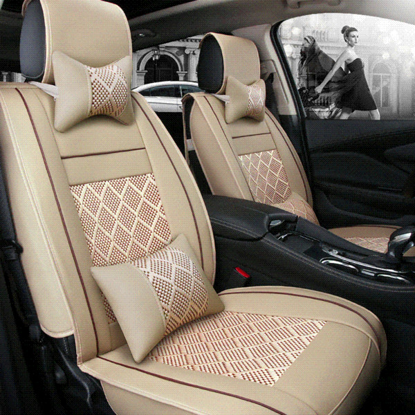 2018 New leather ice silk car seat cover universal for Honda all models CRV XRV Odyssey jazz FIT ACCORD CIVIC car styling