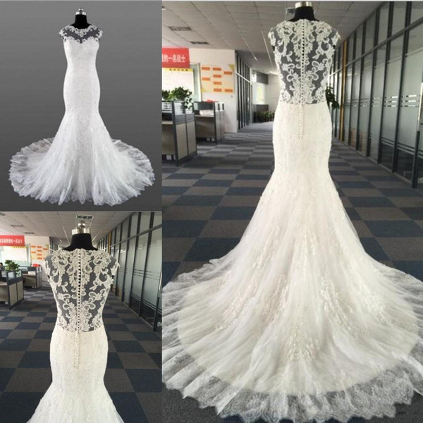 Vintage Lace Beads Mermaid Wedding Dresses Temperament Round neck Neck Sleeveless 2019 With Bridal Long Train Wedding Gowns