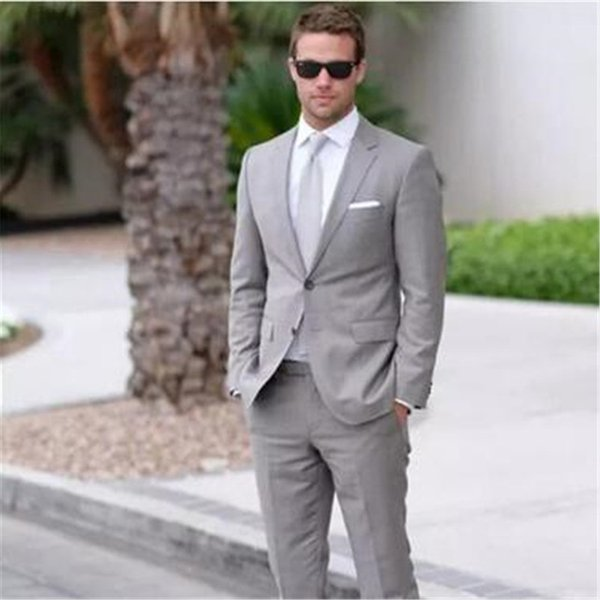 Light Grey Business Men Suits 2 Pieces(Jacket Pant Tie) High Quality Slim Fit Blazer Formal Prom Terno Clothes Fashion