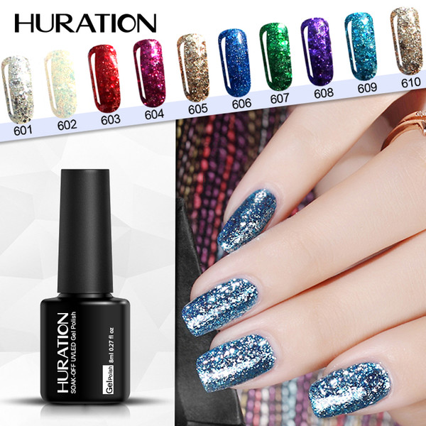 Huration Glitter 3D Diamond 8ml Gel Nail Polish Golden Manicure LED UV Professional Nail Design Soak Off French Gel Lacquer Art