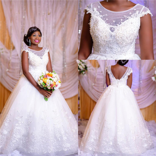 Black Girl Ball Gown Lace Wedding Dresses 2018 Sexy African Sheer Neck Backless Beaded Applique Plus Size Bridal Gowns
