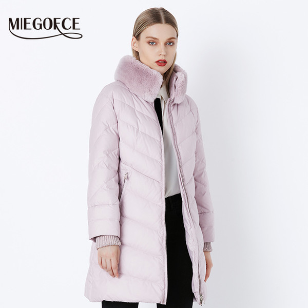 Großhandel MIEGOFCE 2018 Winterkollektion Für Damen Winddichte Damen Dicker Mantel Europäischer Stil Kaninchen Pelzkragen Damen Warme Jacke C18111901