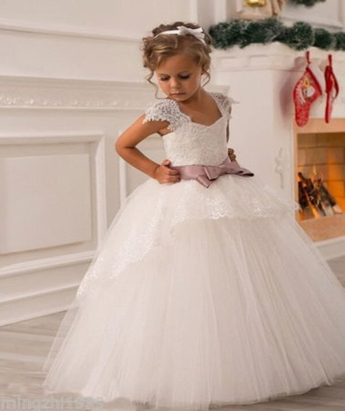 Cheap Sweet flower girls dresses for weddings Baby Party frocks sexy children images Dress kids prom dresses evening gowns